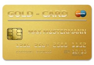 Beispiel einer goldenen Kreditkarte